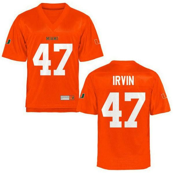 Mens Michael Irvin Miami Hurricanes #47 Limited Orange College Football Jersey 102