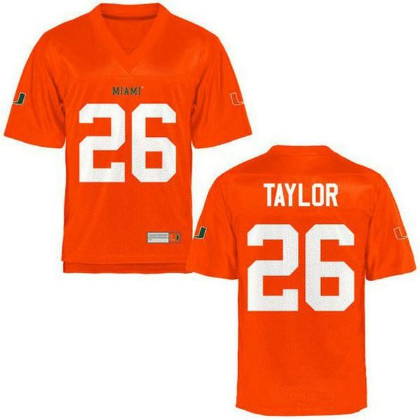 Mens Sean Taylor Miami Hurricanes #26 Limited Orange College Football Jersey 102