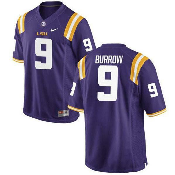 Womens Joe Burrow Lsu Tigers #9 Authentic Purple College Football Jersey 102