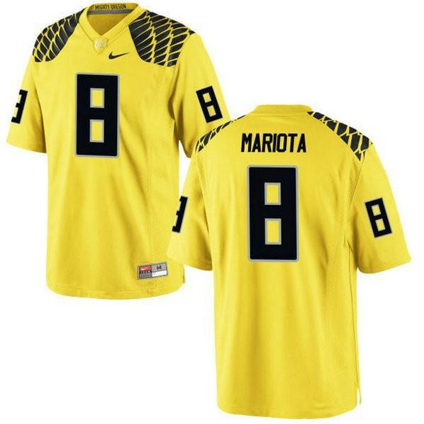 Womens Marcus Mariota Oregon Ducks #8 Authentic Yellow College Football Jersey 102