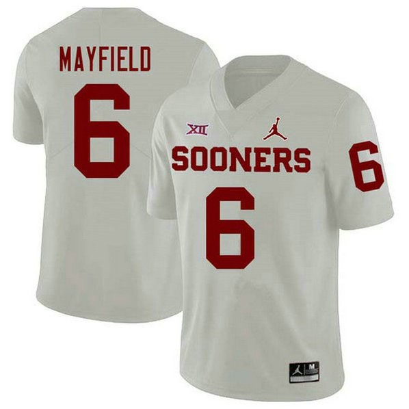 Youth Baker Mayfield Oklahoma Sooners #6 Jordan Brand Game White College Football Jersey 102